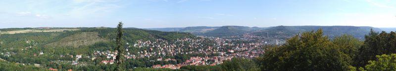 Jena vom Bismarckturm aus, einreihig, 5 Einzelaufnahmen, ICE